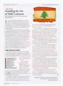 Lebanon decentralization_Georges Sassine Executive Magazine article June 2014
